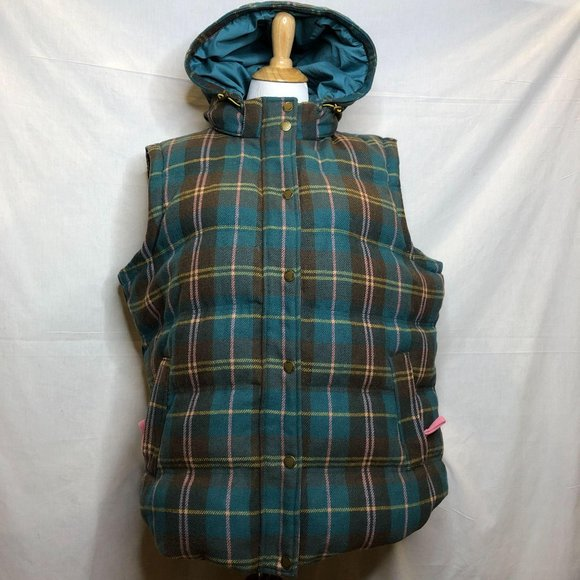 Boden Quilted Wool Feather Down Vest Hood 18